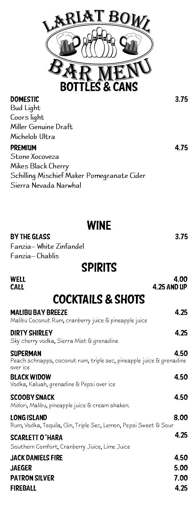 Food and Beverages at Lariat Bowl